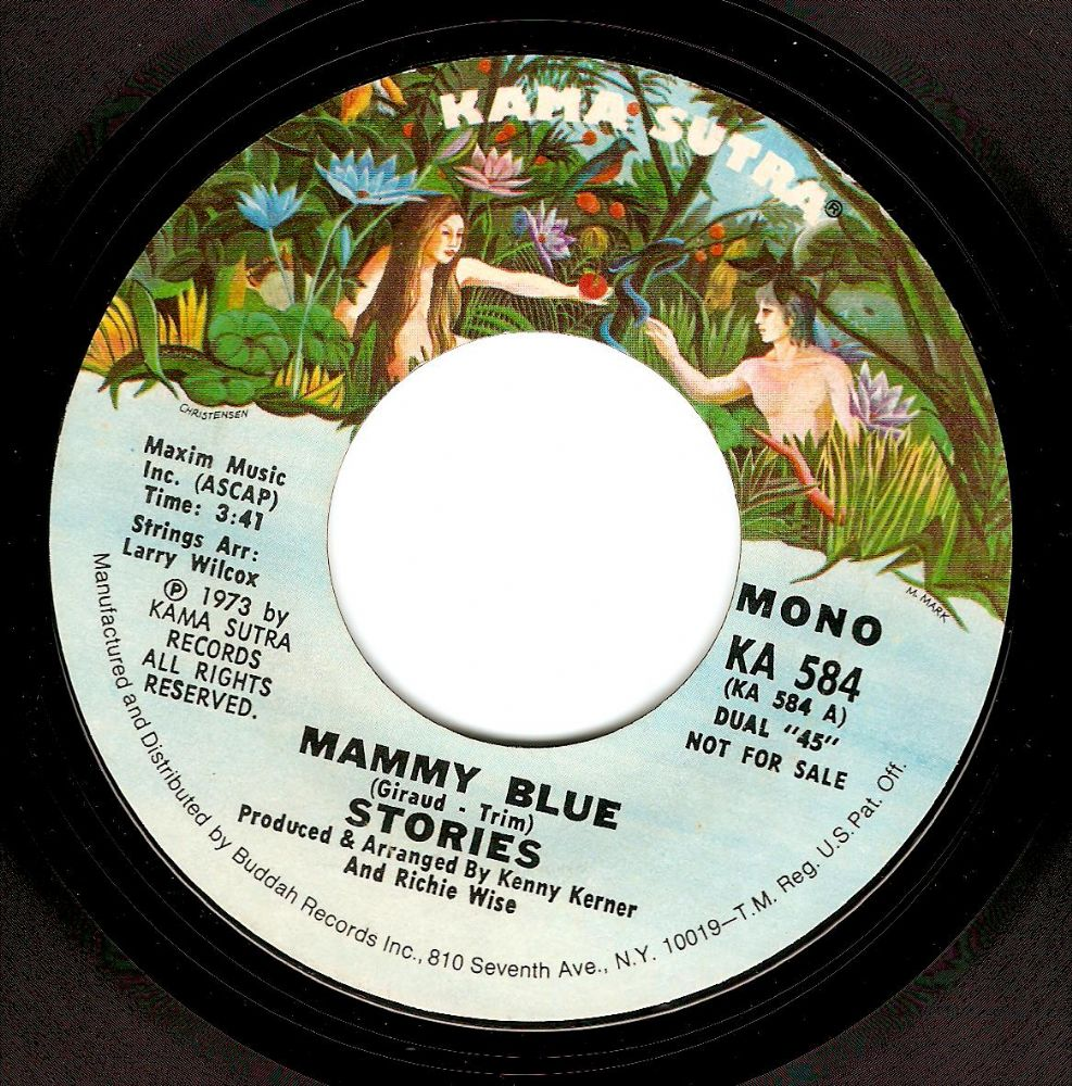 STORIES Mammy Blue Vinyl Record 7 Inch US Karma Sutra 1973 Promo